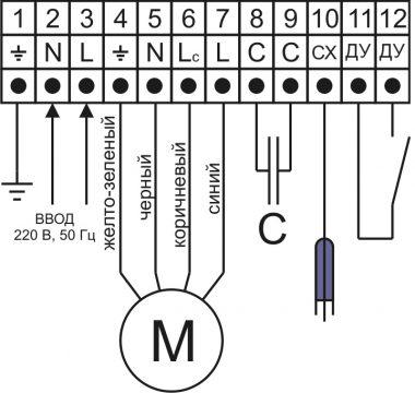 Подключение однофазного насоса без встроенного конденсатора